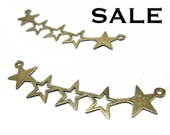 LOW Stock - Vintage Rhodium Plated Star Pendants (12x) (V233) S A L E - 50% off