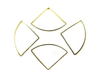 Gold Plated Fan Shape Wire Charms (10x) (K221-C)