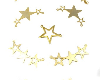 LOW Stock - Vintage Gold Plated Star Pendants (8X) (V271)