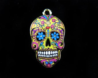 Imitation Gold Plated Colorful Sugar Skull Charms (2x) (K309-A)