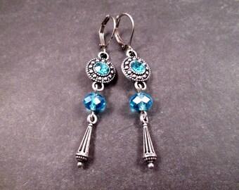 Rhinestone Earrings, Bali Style Drop Earrings, Blue and Silver Dangle Earrings, FREE Shipping U.S.