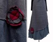 Two Toned Sweater Fleece Skirt M/L Medium Large Handmade Ready to ship