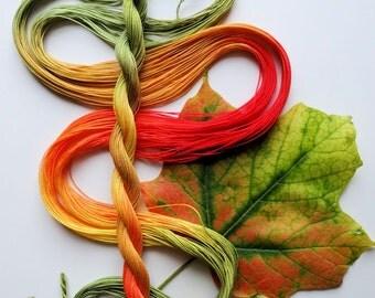"Size 40 ""Sugar Maple"" hand dyed thread 6 cord cordonnet tatting crochet cotton"