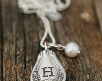Handstamped Southern Belle Vintage Spoon Charm Necklace