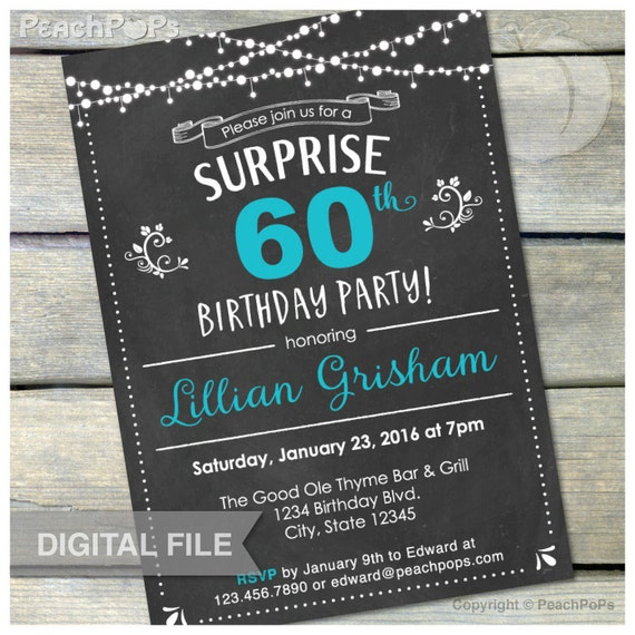 60th Surprise Birthday Chalkboard Invitation Birthday Party