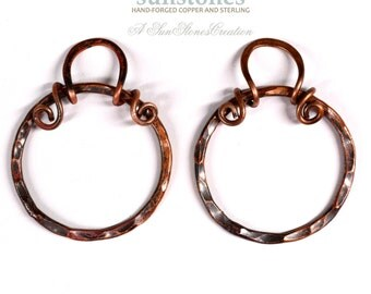 RESERVE for MB - Hand Forged Rustic Copper Earring Components - DIY jewelry making components EC286