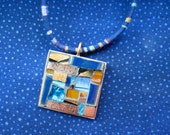 Verve Collection Patchwork Pendant in Blue and Copper