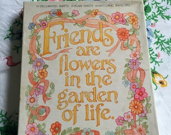 Vintage Hallmark Friends are Flowers in the Garden of Life writing set