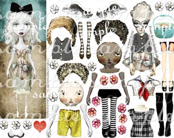 ART TEA LiFE Girly Stuff Paper Dolls Collage Sheet digital file printable download decoupage clip art scrapbook journalling page tags clip