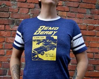 Let's Play Demo Derby Men's Unisex Ringer College Tee