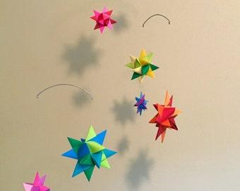 baby crib mobile origami paper stars multi