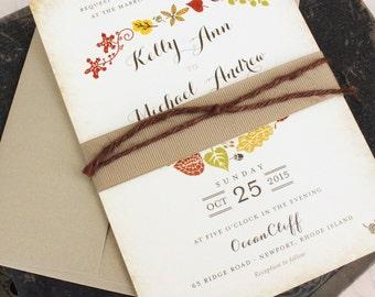 Autumn Floral Wedding Invitation - Fall Wedding Invitation - Design Fee
