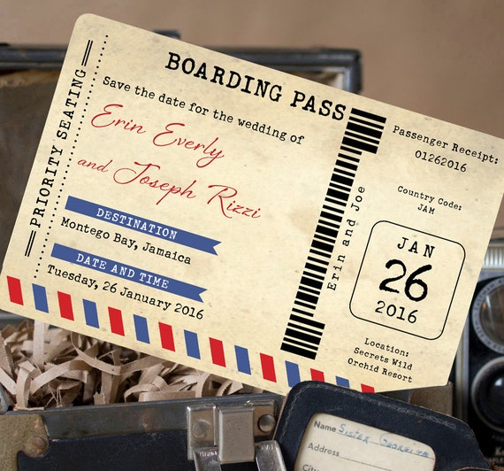 Vintage Air Mail Boarding Pass Postcard Save The Date