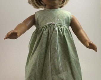 American Girl Doll Clothes - Mint Green Spring Sleeveless Nightgown