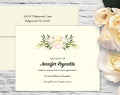 Roses Swag Sympathy Flat Card with Printed Envelope - Ivory