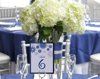 Winter Snowflakes Elegant Layered Table Number Cards