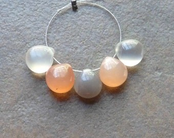 AA Peach and Grey Moonstone Smooth Heart Briolettes - 8mm