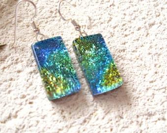 Blue Green Gold  Earrings, Dichroic Glass Earrings, Fused Glass Jewelry, Dichroic Jewelry, Dangle Drop Earrings, Sterling, 021716e101