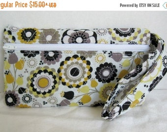 40% Off Quilted Wristlet - Black Yellow Floral Print - Wrist Style Purse - Wallet with Strap - Cellphone Purse