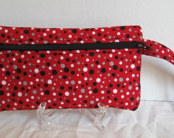 Red Grey Wristlet - Polka Dots Wristlet - Wrist Style Purse - Wallet with Strap - Cell Phone Purse - Hands Free Pouch - Red Grey Black Dots