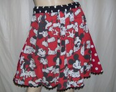 Mickey Mouse Skirt Upcycled 80s red black Polka Dot Disney Cruise Resort Fluffy Mini Skirt Adult S to Plus Full Fun Skirt