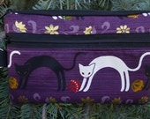 Japanese Cat mini wallet, purse organizer, wristlet, iPhone purse, Arched Cats,  Sweet Pea
