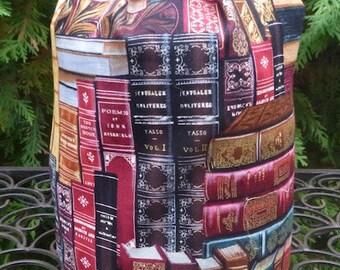 Books Drawstring bag, WIP bag, knitting project bag, Classic Books, Suebee