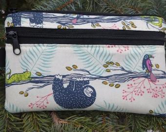 Sloth mini wallet, purse organizer, wristlet, iPhone purse, Sweet Pea