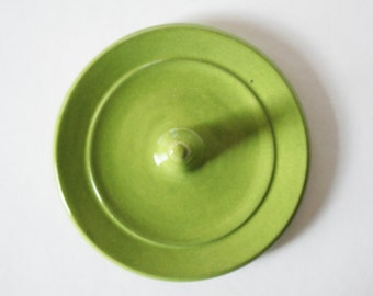 Ring Holder, Chartreuse Green Ring Dish, Wheel Thrown, Clay Pottery
