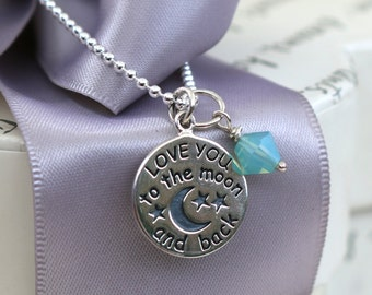 Love you to the Moon necklace, your choice of Crystal charm, Sterling 18in chain