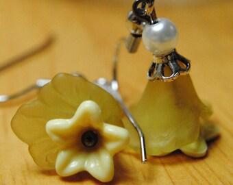 FREE SHIPPING Earrings, Dangle Earrings, White and Yellow Earrings, Flower Earrings, Lucite Earrings, Small Earrings