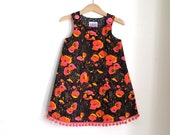 Field of Poppies Orange, Pink & Black Toddler Girls Dress  | Size 3T Children's Clothing - Party Dress Trimmed with Pink Ball Fringe