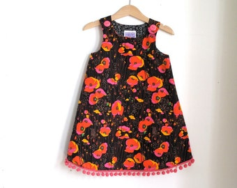 Field of Poppies Orange, Pink & Black Toddler Girls Dress  | Size 3T Children's Clothing - Party Dress with Pink Ball Fringe, Photo Shoot
