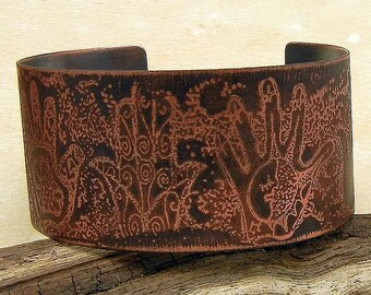 Hamsa Hands Rustic Etched Copper Cuff Bracelet Handmade Copper Jewelry -  SRA Artisan jewelry