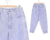 "Vintage 80s High Waisted Lavender Acid Wash Mom Jeans - Size 12 - Women's Purple Rockies Tapered Leg Mom Jeans - 30"" Waist"