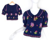 Vintage 80s Cropped Navy Floral Sailor Collar Sweater - Size Small - Preppy Women's Puffed Short Sleeve Paisley Pullover Jumper