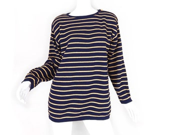 Vintage 80s Women's Oversized Nautical Striped Sweater - Size Small - Navy Blue Matallic Gold Horizontal Striped Preppy Long Pullover Jumper