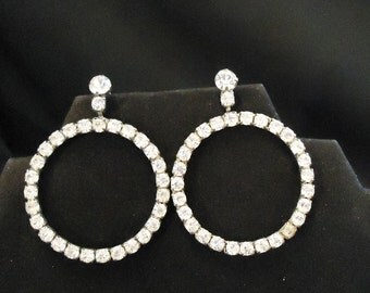 Pierced Earrings Large Clear Glass Rhinestones Crystals Round Shaped Circle Dangles 1970's Vintage Costume Jewelry Accessories