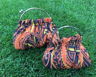 Purse in Polynesian Orange and Black Tribal Print 3 sizes available