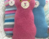Flat Cat soft toy handmade recycled woollen kitten - Rhubarb