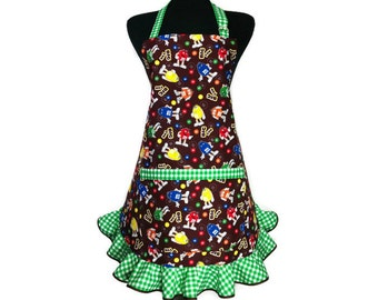 Retro Style M&M's Apron for women , Green Check Ruffle , Candy Kitchen Decor