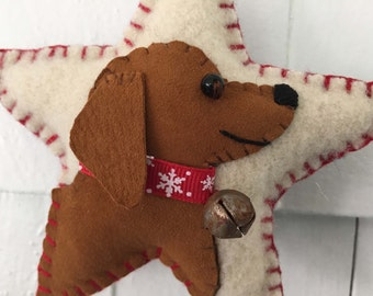 Dachshund Puppy Dog Breed Ornament, Doxie, Vintage Wool & Suede Star, Christmas Tree, Wall / Door Hanger
