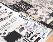 Japanese Fabric Suzuko Koseki wonderful scrap - black, white - fat quarter