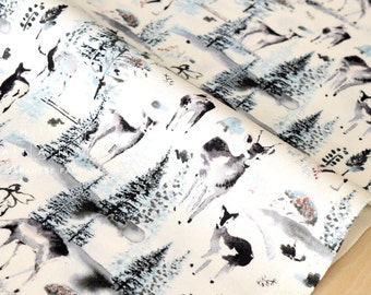 Japanese Fabric Winter Forest - grey - 50cm
