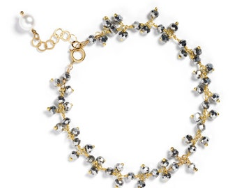 Mystic Pyrite Cluster Bracelet in Gold Plate - Single Strand