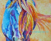 """Original colorful horse oil painting 12""""x12"""" fun and vibrant"""