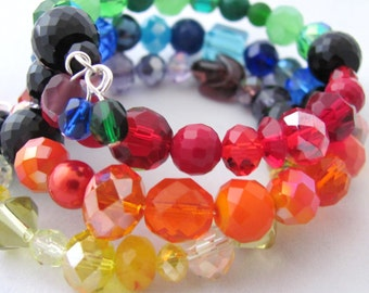 Color Wheel Bracelet Memory Wire Bracelet One Size Fits All Rainbow Bracelet