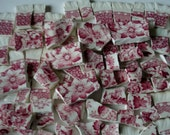 Craft Supplies Mosaic Tiles -  Scenic Focal Tile - Accent tiles - Light Red to Dark Red - House - Trees - People  Vintage Broken China