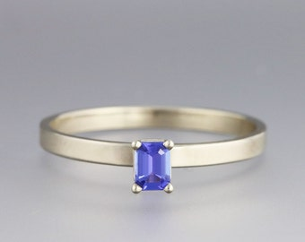 Simple White Gold Engagement Ring with Tanzanite - Diamond Alternative Ring - Emerald Cut Stone Ring - Modern Slim Design - Made to Order