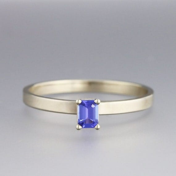 Simple White Gold Engagement Ring with Tanzanite Sample Sale
